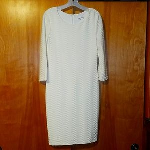 Off white lined fitted dress